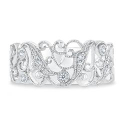 Ellaura Embrace Diamond Milgrain Scroll Anniversary Ring 1/10ctw