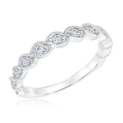 Ellaura Embrace Diamond Twist Milgrain Band 1/4ctw