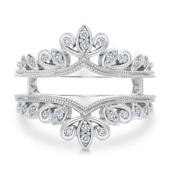 Ellaura Embrace Round Diamond Vintage Scroll Ring Guard 1/5ctw