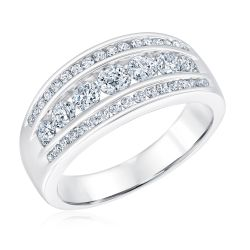 Ellaura Embrace Three Row Channel Set Round Diamond Anniversary Band 1ctw