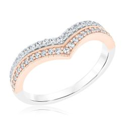 Ellaura Embrace Two-Tone Double Chevron Diamond Curved Band 1/3ctw