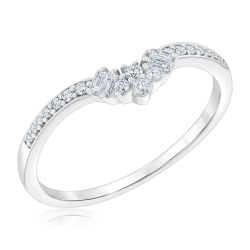 Ellaura Embrace White Gold Diamond Spray Curved Band 1/5ctw