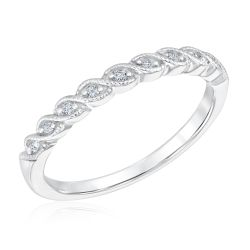 Ellaura Embrace White Gold Vintage-Inspired Diamond Band 1/15ctw