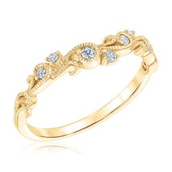 Ellaura Embrace Yellow Gold Diamond Leaf Curved Band 1/10ctw
