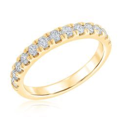 Ellaura Embrace Yellow Gold Prong-Set Round Diamond Wedding Ring 3/4ctw