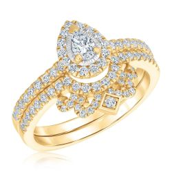 Ellaura Glow Pear Diamond Yellow Gold Crown Engagement and Wedding Ring Bridal Set 5/8ctw