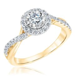 Ellaura Glow Round Diamond Halo Bypass Yellow Gold Engagement Ring 5/8ctw