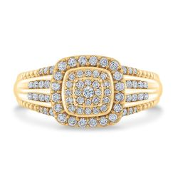 Ellaura Glow Round Multi-Row Yellow Gold Engagement Ring 1/2ctw