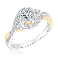 Ellaura Glow Two-Tone Bypass Diamond Engagement Ring 5/8ctw