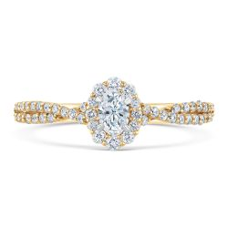 Ellaura Glow Oval Diamond Yellow Gold Halo Engagement Ring 1/2ctw