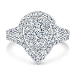 Ellaura Harmony Diamond Cluster Pear-Shaped Engagement Ring 1ctw