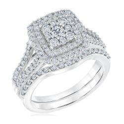 Ellaura Harmony Multi Diamond Double Halo Engagement and Wedding Ring Bridal Set 1 1/5ctw