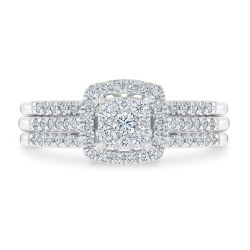 Ellaura Harmony Multitop Cushion Engagement and Wedding Ring Bridal Set 1/2ctw