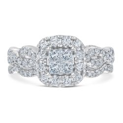 Ellaura Harmony Princess Diamond Cluster Engagement and Wedding Ring Bridal Set 1ctw