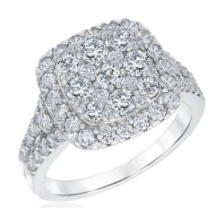 Ellaura Harmony Round Diamond Cluster Top Engagement Ring 2ctw