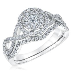 Ellaura Harmony Round Diamond Double Halo Twist Engagement and Wedding Ring Bridal Set 7/8ctw