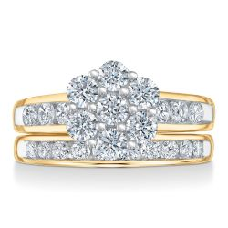 Ellaura Harmony Yellow Gold Diamond Flower Engagement and Wedding Ring Bridal Set 2ctw