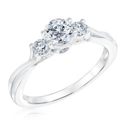 Ellaura Journey Three-Stone Round Diamond Engagement Ring 3/4ctw