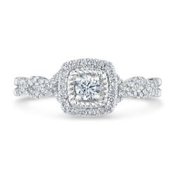 Ellaura Timeless Diamond Cushion Frame with Twist Band Engagement Ring 1/2ctw