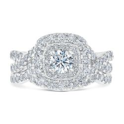 Ellaura Timeless Diamond Double Cushion Halo Engagement and Wedding Ring Bridal Set 2ctw