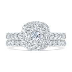 Ellaura Timeless Diamond Unity Cushion Engagement and Wedding Ring Bridal Set 1 1/2ctw