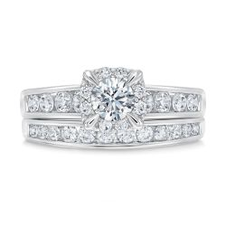 Ellaura Timeless Halo and Channel Set Diamond Engagement and Wedding Ring Bridal Set 1 1/3ctw