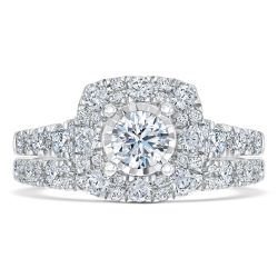 Ellaura Timeless Miracle Plated Diamond Engagement and Wedding Ring Bridal Set 1 1/2ctw