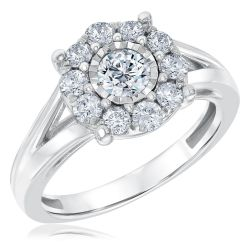 Ellaura Timeless Miracle Set Halo Diamond Engagement Ring 1ctw