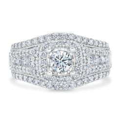 Ellaura Timeless REEDS Exclusive Cushion Diamond Multi-Row Engagement Ring 1 1/2ctw