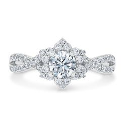 Ellaura Timeless Round Diamond Flower Engagement Ring 1ctw