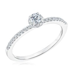 Ellaura Timeless Round Diamond Halo White Gold Engagement Ring 1/3ctw
