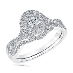 Ellaura Timeless Round Diamond Oval Shaped Halo Engagement and Wedding Ring Bridal Set 3/4ctw