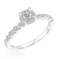 Ellaura Timeless Vintage-Inspired Round Diamond Engagement Ring 1/3ctw