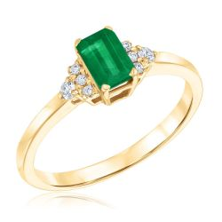 Vintage-Inspired Emerald and Diamond Accent Ring