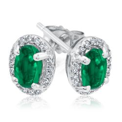 Emerald and Diamond Earrings 1/8ctw