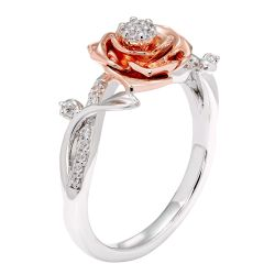 Enchanted Disney Fine Jewelry Belle's Diamond Halo Rose Ring 1/10ctw - Size 7