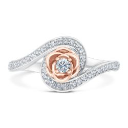 Enchanted Disney Fine Jewelry Belle's Rose Diamond Bypass Engagement Ring 1/4ctw