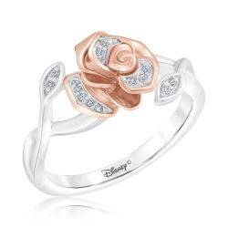 Enchanted Disney Fine Jewelry Belle's Rose Diamond Fashion Ring 1/20ctw