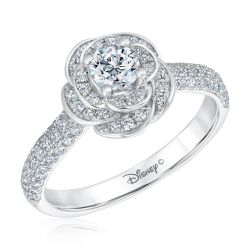 Enchanted Disney Fine Jewelry Belle's Rose Round Diamond Engagement Ring 1ctw