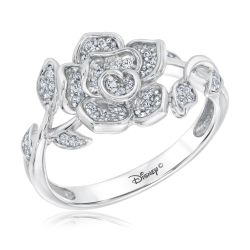 Enchanted Disney Fine Jewelry Belle's Rose Sterling Silver Ring 1/4ctw
