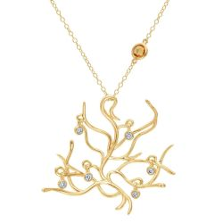 Enchanted Disney Fine Jewelry Belle's Tree of Life Necklace 1/6ctw