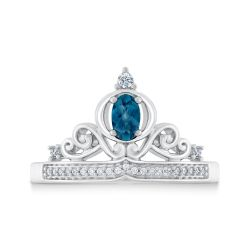 Enchanted Disney Fine Jewelry Cinderella's Diamond and London Blue Topaz Carriage Ring 1/10ctw