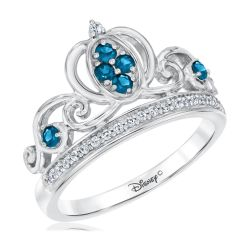 Enchanted Disney Fine Jewelry Diamond and London Blue Topaz Cinderella Princess Ring 1/8ctw