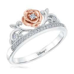 Enchanted Disney Fine Jewelry Diamond Belle Princess Ring 1/10ctw