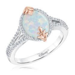 Enchanted Disney Fine Jewelry Elsa's Frozen 2 Created Opal and Diamond Ring 1/5ctw