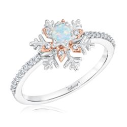 Enchanted Disney Fine Jewelry Elsa's Frozen 2 Created Opal and Diamond Snowflake Ring 1/6ctw