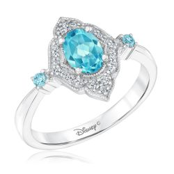 Enchanted Disney Fine Jewelry Jasmine Oval Swiss Blue Topaz and Diamond Ring 1/10ctw