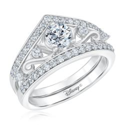 Enchanted Disney Fine Jewelry Princess Round Diamond Engagement and Wedding Ring Bridal Set 1ctw