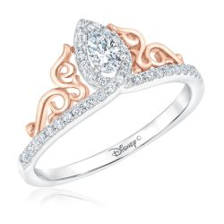 Enchanted Disney Fine Jewelry Princess Tiara Pear Diamond Engagement Ring 3/8ctw
