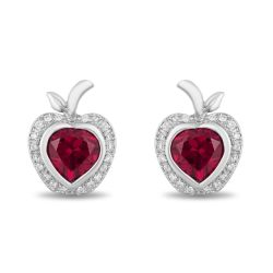 Enchanted Disney Fine Jewelry Snow White's Created Ruby and Diamond Apple Earrings 1/10ctw